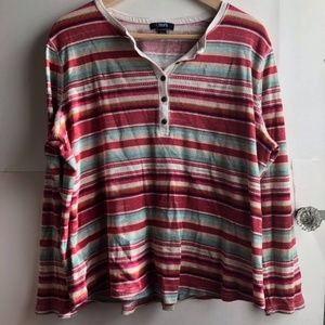 Chaps Tribal Print Red/Cream/Green Striped Henley